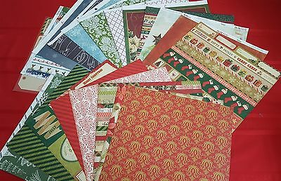 Christmas Trees Poinsettia Scrapbook Paper Cardstock 12 x 12  Holiday  20 pcs