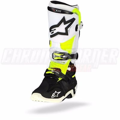 Alpinestars Tech 10 Black White Yellow Fluo Motorcycle Boots, Tech-10, NEW!