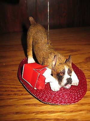 Pick of the Litter SANDICAST BOXER FIGURINE Brindle CROPPED EARS Tree ORNAMENT