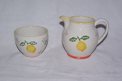 Cream Jug and Sugar Bowl Laura Ashley Summer Fruits Lemons  & Strawberries
