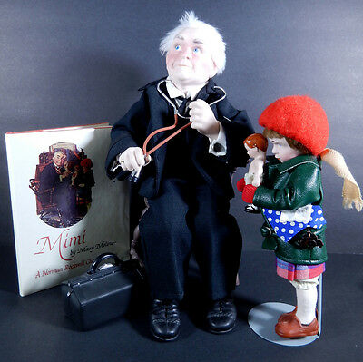 Norman Rockwell Mimi Character Figurine Doll Dr. Chrisfield Mimi & Book No Box
