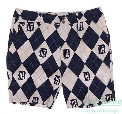 New Womens Loudmouth Detroit Tigers Argyle Pattern Shorts Size 14 Blue / White