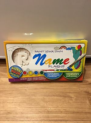Paint Your Own Name (R) Plaque Ceramic Plaque With Paint Pots Fast Uk Delivery