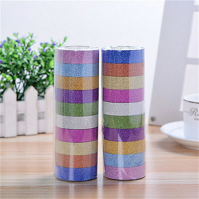 10pcs Glitter Washi Paper Adhesive Tape DIY Craft Sticker Masking Decor 1.5cmx3m