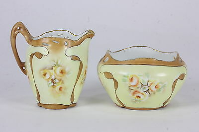 Hand Painted & Signed 'A.C. Love' Creamer & Open Sugar Bowl R.C. Racine Bavaria