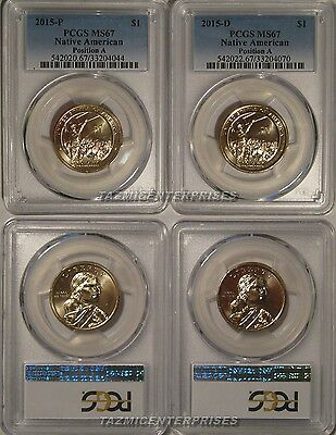 2015 P & D Mohawk Iron Workers Native Sacagawea Dollar Set $1 PCGS MS67 Pos A