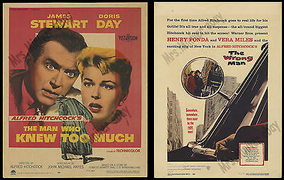 2- Alfred Hitchcock 1956 MOVIE POSTERS The Wrong Man & The Man Who Knew Too Much