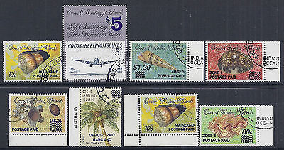 1990-1991 Cocos Islands Provisional Overprints Complete Set Of 8 Fine Used Cto