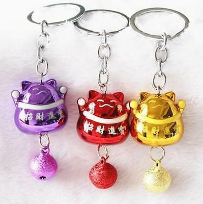 Japanese Fengshui Lucky Bell Cute Cats Keyring Keychain Key Ring Chain Gift ✿