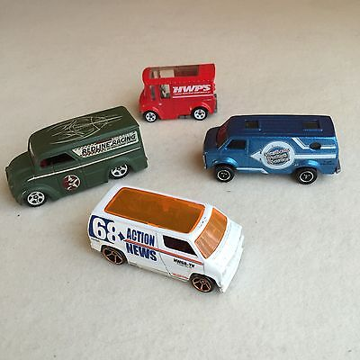 BULK Lot 4X DIECAST Cars CHEVY Custom DODGE Van BREAD Box ~ HOT WHEELS Matchbox