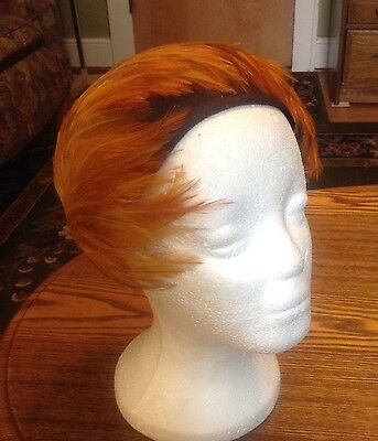 Vintage Orange Feather & Brown Velour Fascinator Headpiece Church Cocktail Party
