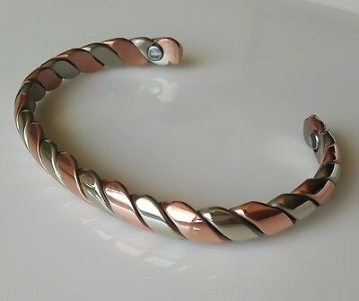 Two Toned Twisted Small Copper & German Silver Magnetic Cuff Bangle Bracelet