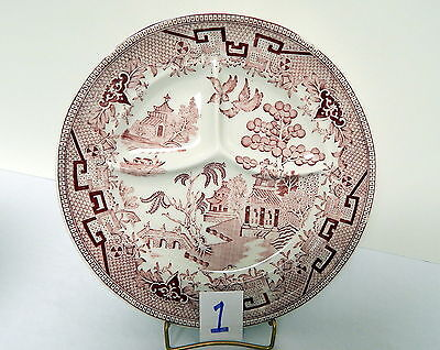 Sterling Restaurant Ware Pink Willow Grill Plate # 1 8.75 Inch Diameter Ca. 1953