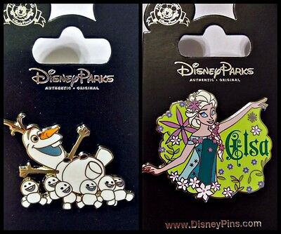 Disney Parks 2 Pin Lot FROZEN FEVER Elsa + Olaf with Snowgies - New