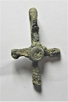 Zurqieh - Af1140- Ancient Byzantine Bronze Cross. 600 A.d - Jordan