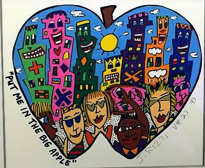 James Rizzi » Put Me In The Big Apple «  Serielles Acryl Unikat von 1992