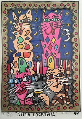 James Rizzi » Kitty Cocktail «  Seltenes 3D  aus 1994