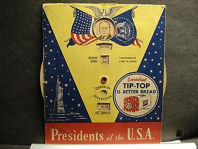 """1951 PRESIDENTS of the USA """"Fact Wheel"""" TIP-TOP BREAD Advertisement"""