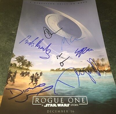Star Wars Rogue One Cast (8) Hand Signed 11x17 Autographed Photo W/COA