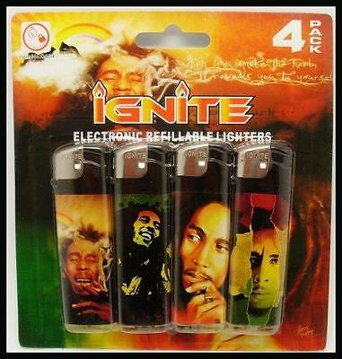 Pack Of 4 Bob Marley Disposable Cigarette Lighters Reggae Music