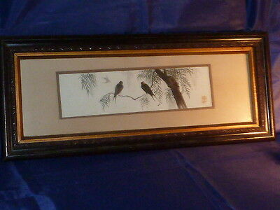Atmospheric Antique Japanese Signed Watercolour of Swallows