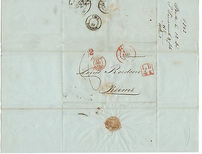 SWITZERLAND 1843 Pre Stamp Letter Cover from BALE BASEL to REINS