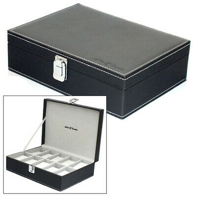 Astin Of London Gents Black Pu Leather 10 Watch Storage Case Mens Jewellery Box