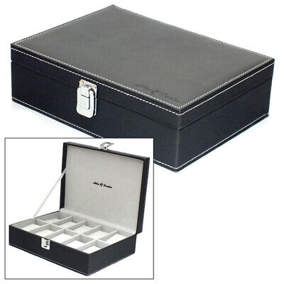 Aston Of London Gents Black Pu Leather 10 Watch Storage Case Mens Jewellery Box