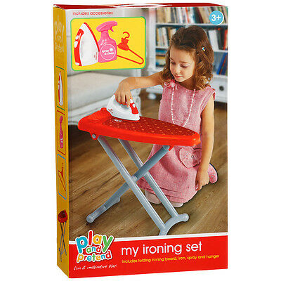 Kids Laundry Playset Toy Ironing Board Iron Pretend Play House Role Play Red