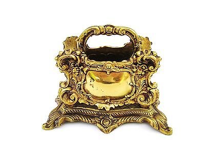 Vintage Ornate Brass Two Section Letter Napkin Holder With Handle Art Nouveau