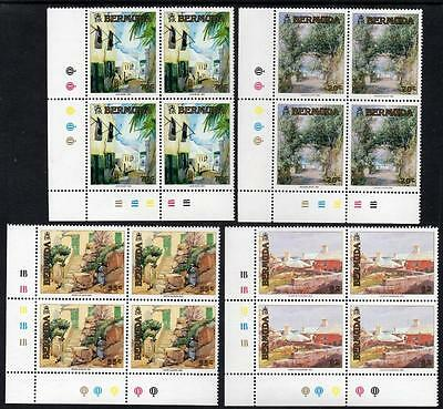 Bermuda 1991 Mnh Bermuda Paintings Control Corner Block Set