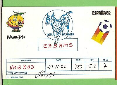 #n. Qsl Card Radio Contact Card - Ea3Ams, Naranjito, Spain, Soccer World Cup