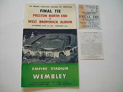 1954 F A Cup final programme & Ticket Preston North End v West Bromwich Albion.