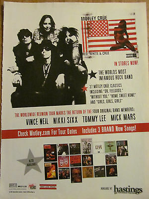 Motley Crue, Red, White and Crue, Full Page Vintage Promotional Ad