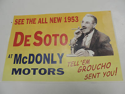 1953 Desoto Dealer Advertisment - Groucho Marx - 11 X 17 Reprint - Vintage Mopar