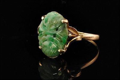 Antique Chinese Carved Green Jade 14K Gold Ring (072416080)