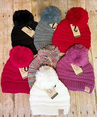 NWT Boutique Childrens CC Pom Beanies - Black, Gray, Ivory, Pink, Red, Multi