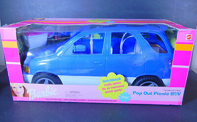 Nib 1999 Barbie Doll Pop Out Picnic Suv Car Vehicle Blue