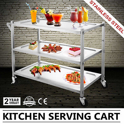 3 Tier Stainless Steel Catering Cart Serving Tray Servic Trolley Tea/Drinks