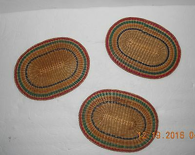 Hot Mats Set of Three Weaved Pad TRIVET Hot Plate Mat Vintage Kitchen Decor