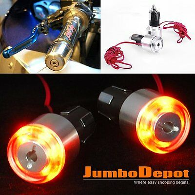 AU 2X 7/8'' Motorcycle Handlebar Grip End LED Turn Signal Light Amber For Honda