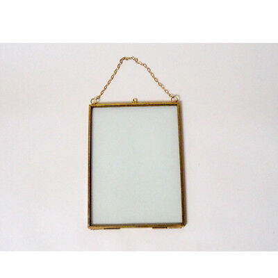 "Glass Brass Vintage Antique Style Hanging - 5 x 7"" Portrait Picture Frame"