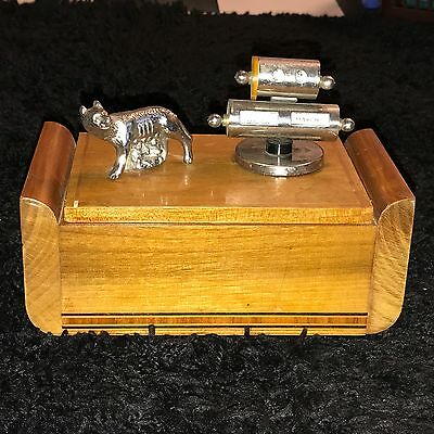 Vintage Wolf Inlaid Wood Desk Humidor 40 Cigar Box Chest Perpetual Calendar