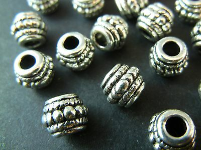 20pc 8mm Silver Tibetan Silver Large Hole Bali Barrel Round Spacer Beads (T066)