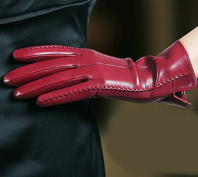 lady's mid length winter warm wrist long lines style genuine goat leather gloves