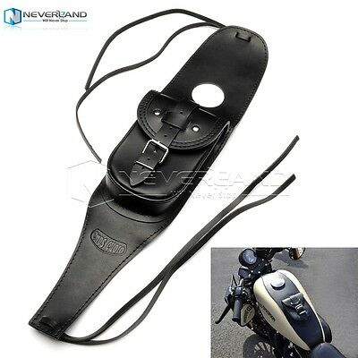 Black Leather 4.5 Gallons Tank Chap Cover Panel Bag For Harley Sportster XL883