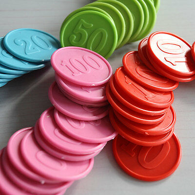 80 Plastic Poker Chips - Color  Random Top Quality
