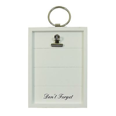 Don'T Forget Bulldog Clip White Hanging Wall Wooden Note Board 14.5 X 26.5Cm