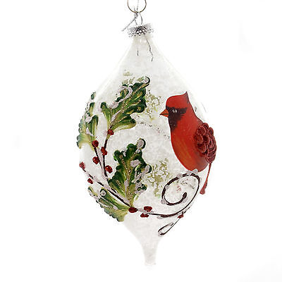 Holiday Ornaments CARDINAL SITTING ON BRANCH Snow Berries Christmas 1612189 Drop