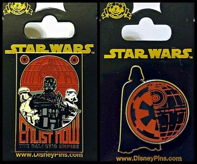Disney Parks 2 Pin Lot STAR WARS Enlist Now Galactic Empire + Rogue Death Star